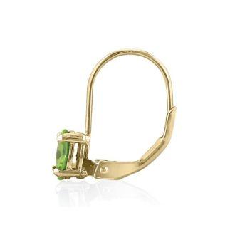 1 Carat Oval Shape Peridot Leverback Earrings In 14 Karat Yellow Gold