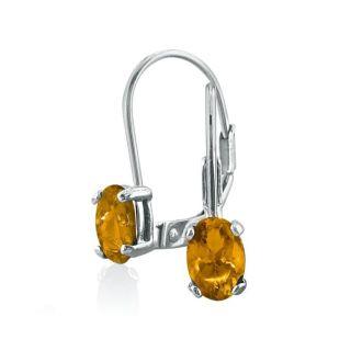 1 1/5 Carat Oval Shape Citrine Leverback Earrings In 14 Karat White Gold