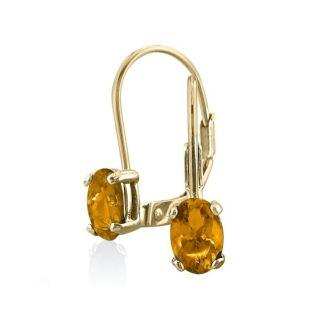 1 1/5 Carat Oval Shape Citrine Leverback Earrings In 14 Karat Yellow Gold