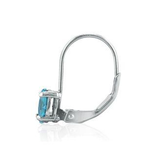 1 1/5 Carat Oval Shape Blue Topaz Leverback Earrings In 14 Karat White Gold