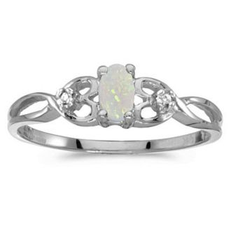 1/6ct Weaving Oval Opal And Diamond Ring in 14k White Gold