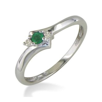 Dainty Bypass Emerald and Diamond Ring in 10k White Gold