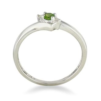 Dainty Bypass Peridot and Diamond Ring in 10k White Gold