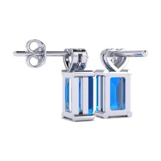 1ct Octagon Shape Blue Topaz and Diamond Earrings in 10k White Gold