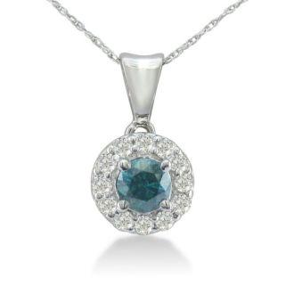 3/4ct White and Blue Diamond Halo Pendant in 14k White Gold