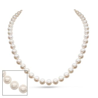 18 inch 8mm AA Pearl Necklace With 14K Yellow Gold Clasp