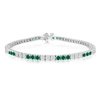 5 Carat Emerald and Diamond Bracelet In 14 Karat White Gold