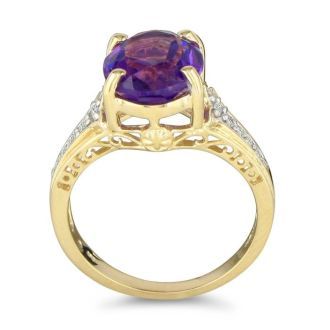 4ct Amethyst and Diamond Ring in 10k Yellow Gold