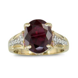 4ct Garnet and Diamond Ring in 10k Yellow Gold