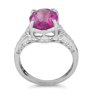 4 Carat Pink Topaz and Diamond Ring in 10k White Gold