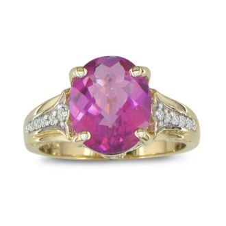 4 Carat Pink Topaz and Diamond Ring in 10k Yellow Gold