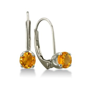 1/2ct Solitaire Citrine Leverback Earrings, 14k White Gold