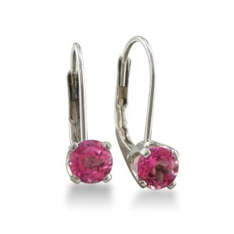 1/2ct Solitaire Pink Topaz Leverback Earrings, 14k White Gold