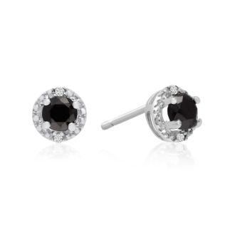 1/2ct Black and White Diamond Earrings, 10k White Gold