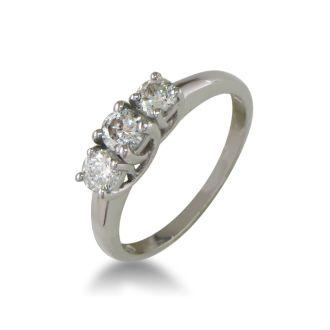 1/2ct Three Diamond Engagement Ring. Raw, Natural Diamond.  No Sparkle