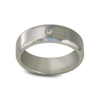 Modern Titanium Wedding Band With 1 Diamond, Size 7.5 to 14