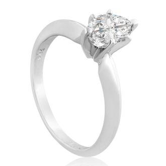 3/4 Carat Marquise Diamond Engagement Ring In 14 Karat White Gold