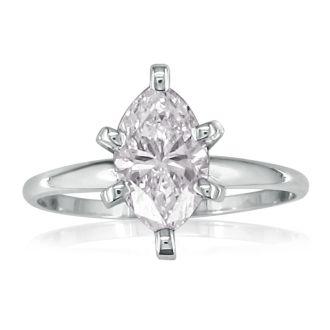 1 Carat Marquise Diamond Engagement Ring In 14 Karat White Gold
