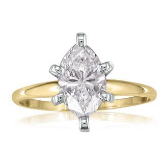 1 Carat Marquise Diamond Engagement Ring In 14 Karat Yellow Gold