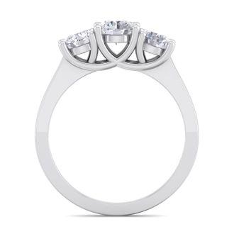 1 1/2 Carat Three Diamond Ring In 14 Karat White Gold