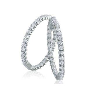 3ct Diamond Inside-Out Hoop Earrings in 14k White Gold