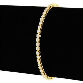 2 1/4 Carat Diamond Tennis Bracelet In 14 Karat Yellow Gold, 8 Inches