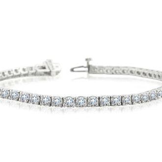 8 Carat Round Diamond Tennis Bracelet In 14 Karat White Gold, 7 Inches
