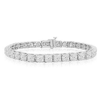 11 Carat Diamond Tennis Bracelet In 14 Karat White Gold, 7 Inches