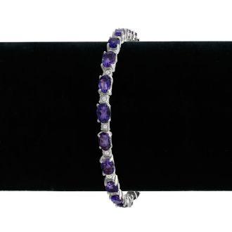 10ct Amethyst and Diamond Bracelet