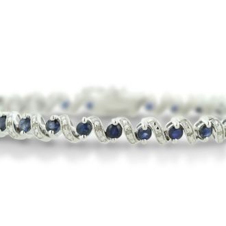 5 Carat Sapphire and Diamond Bracelet in Sterling Silver