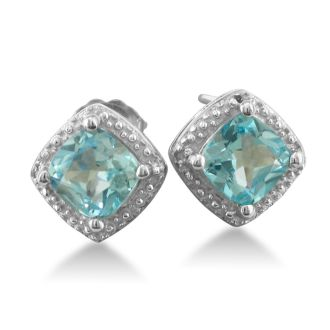 2ct Blue Topaz and Diamond Cushion Cut Earrings