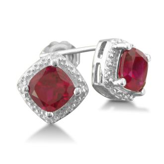 Cushion Cut 2ct Ruby and Diamond Earrings in Silver