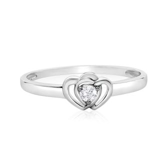 .07ct Intertwined Hearts Diamond Promise Ring in Sterling Silver