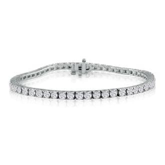 6 1/2 Carat Diamond Tennis Bracelet In 14 Karat White Gold, 9 Inches