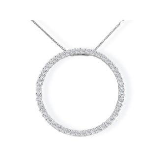 Popular 1/4ct Circle Style Diamond Pendant in 10k White Gold