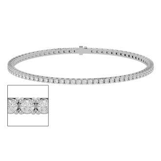 2 1/2 Carat Diamond Tennis Bracelet In 10 Karat White Gold, 6 Inches