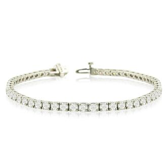 9 1/7 Carat Diamond Tennis Bracelet In 14 Karat White Gold, 8 Inches