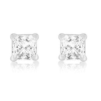 1/4ct Princess Cut Diamond Stud Earrings In 14k White Gold