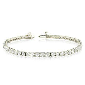 7 1/2 Carat Diamond Tennis Bracelet In 14 Karat White Gold, 6 1/2 Inches