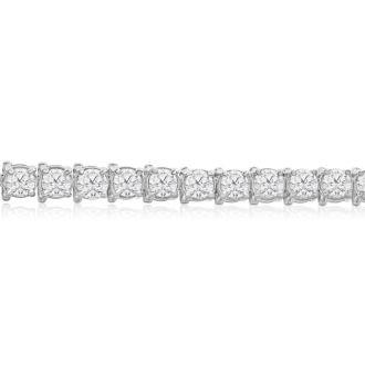 10 1/2 Carat Diamond Tennis Bracelet In 14 Karat White Gold, 8 Inches