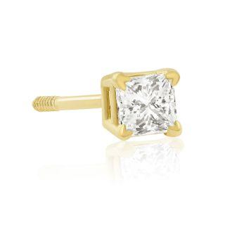 1/4ct Princess Cut Diamond Stud Earrings In 14k Yellow Gold