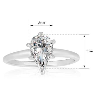 1 Carat Pear Shape Diamond Solitaire Ring in 14K White Gold