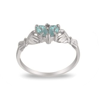 Aquamarine Claddagh Ring in 10k White Gold