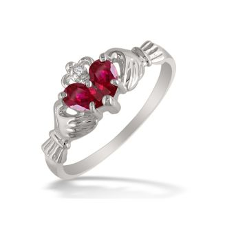 Ruby Claddagh Ring in 10k White Gold