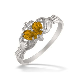 Citrine Claddaugh Ring in 10k White Gold