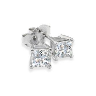 3/4ct Princess Diamond Stud Earrings In 14k White Gold