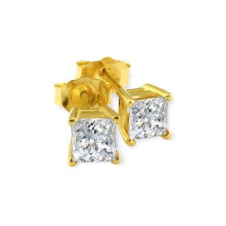 3/4ct G/H SI Princess Diamond Stud Earrings In 14k Yellow Gold