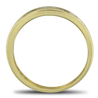 1/2ct Channel Set Diamond Wedding Band in Yellow Gold. All Ring Sizes Available from Size 3.5 to Size 10