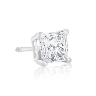 1ct Princess Diamond Stud Earrings In 14k White Gold