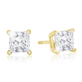 1ct G/H SI Quality Princess Diamond Stud Earrings In 14k Yellow Gold